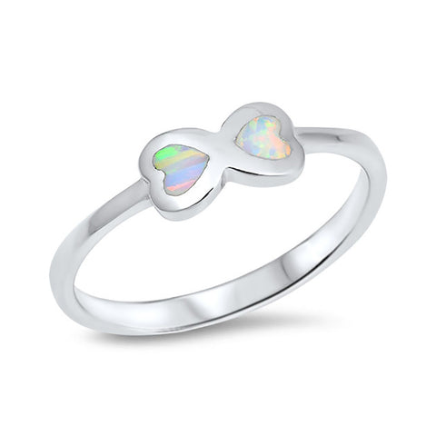 Infinity Heart Ring Lab Created Opal 925 Sterling Silver Choose Color - Blue Apple Jewelry