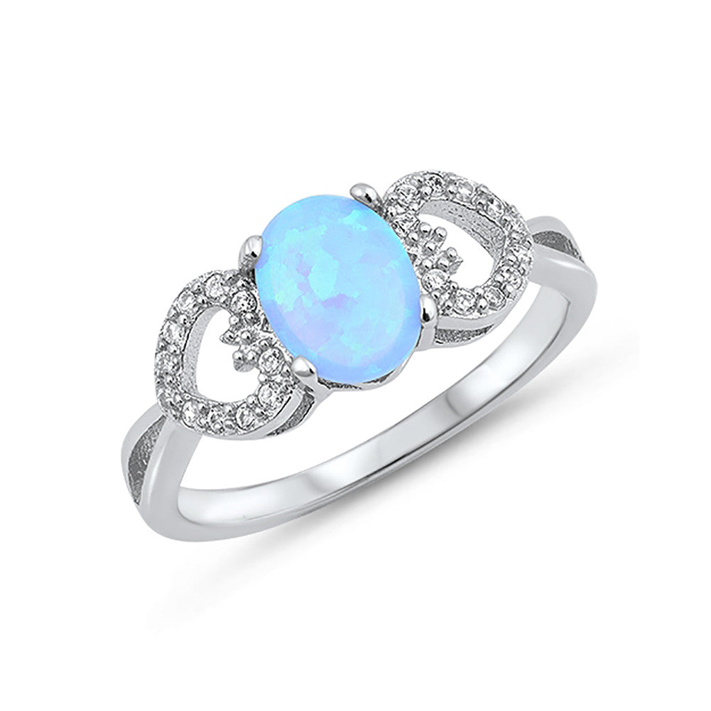 Oval Lab Created Opal Round Cubic Zirconia Heart Accent 925 Sterling Silver Choose Color - Blue Apple Jewelry