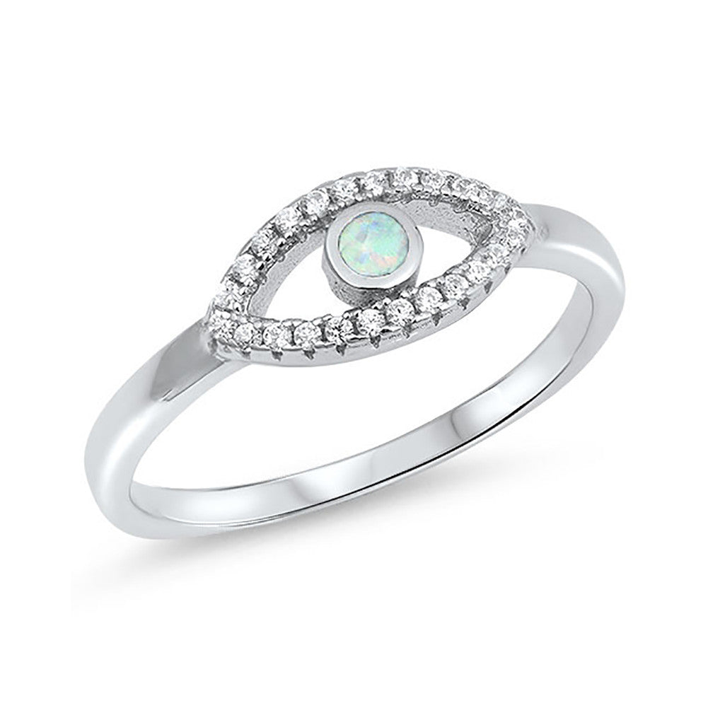 Evil Eye Ring Round Lab Created Opal Round Cubic Zirconia 925 Sterling Silver Choose Color - Blue Apple Jewelry