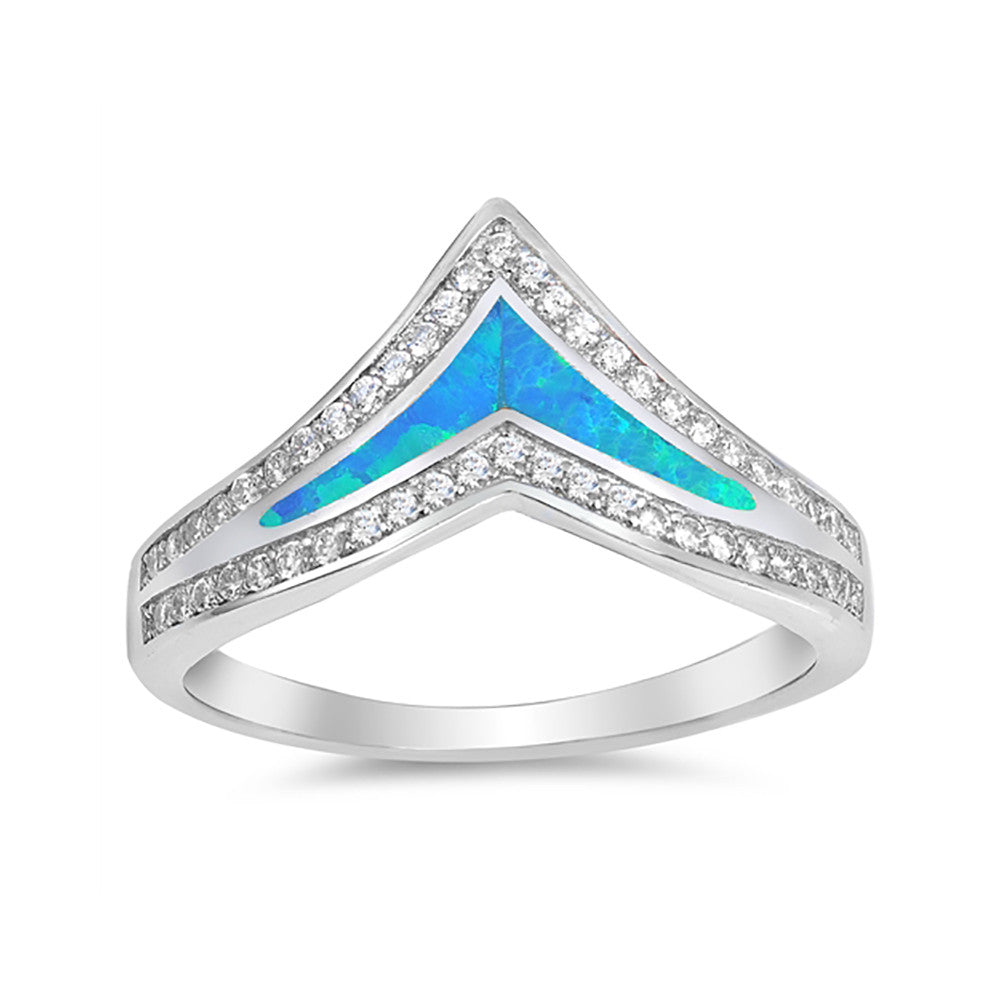 Half Eternity Chevron Midi V Ring Band Created Opal Round CZ 925 Sterling Silver Choose Color - Blue Apple Jewelry