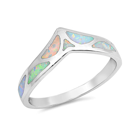 Half Eternity Chevron Midi V Ring Lab Created Opal 925 Sterling Silver Choose Color - Blue Apple Jewelry