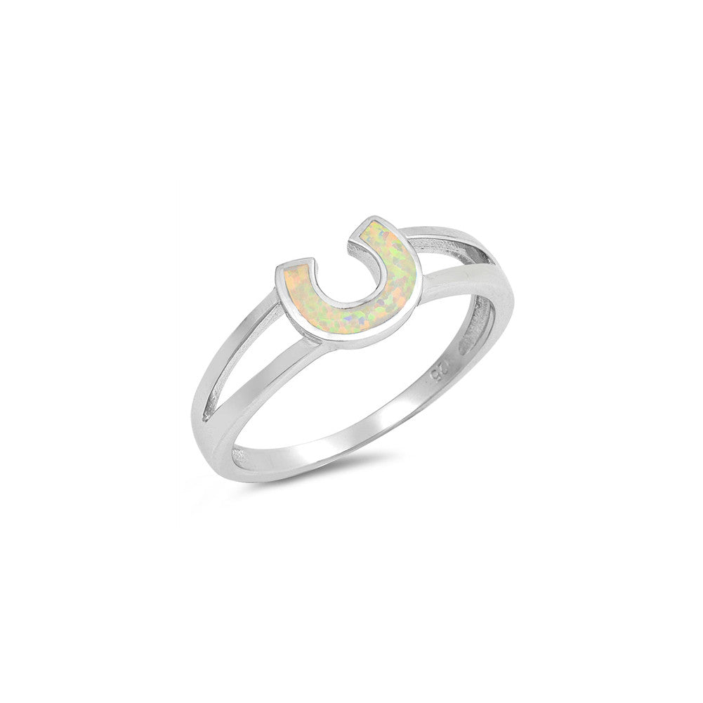 Horseshoe Ring 925 Sterling Silver Lab Created Opal Horse Shoe Choose Color - Blue Apple Jewelry