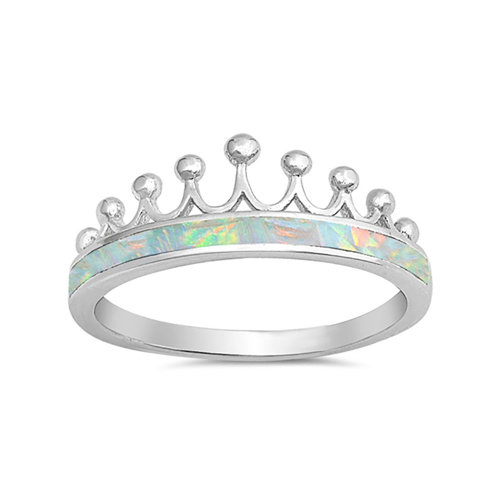 Crown Ring Half Eternity Lab Created Opal 925 Sterling Silver Choose Color - Blue Apple Jewelry