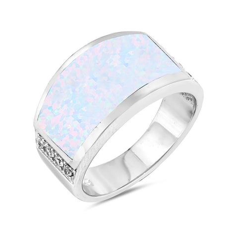 Concave Design Ring Band 925 Sterling Silver Lab Created Opal Round CZ Choose Color - Blue Apple Jewelry