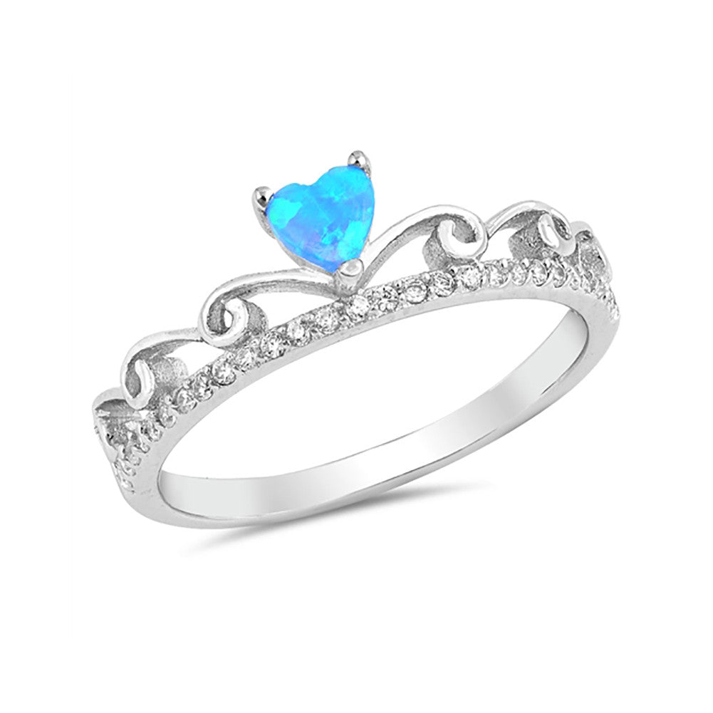 Fancy Heart Swirl Filigree Design Promise Ring Created Opal Round CZ 925 Sterling Silver Choose Color - Blue Apple Jewelry