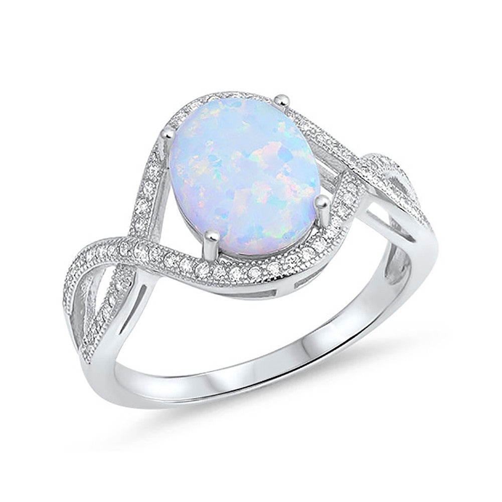 Halo Infinity Shank Fashion Ring Oval Created Opal Round CZ 925 Sterling Silver Choose Color - Blue Apple Jewelry