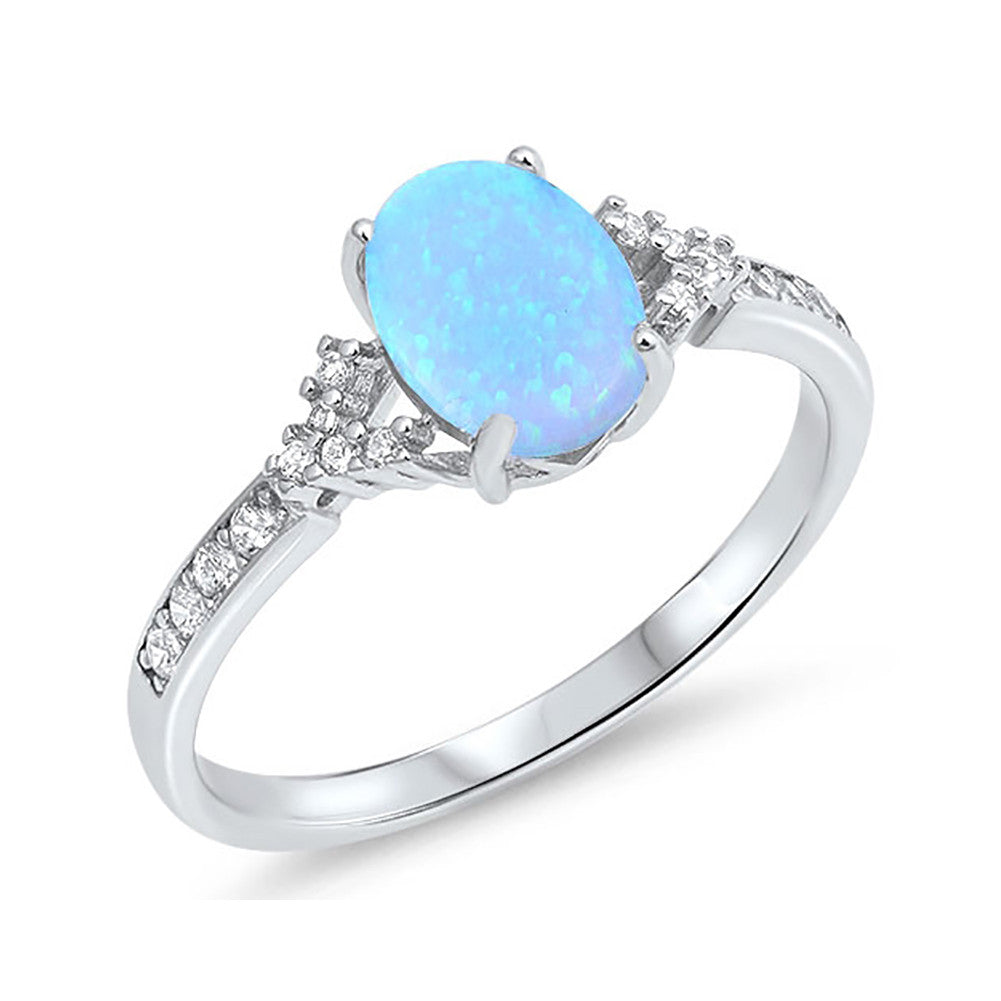 Solitaire Accent Ring 925 Sterling Silver Round CZ Oval Lab Created Opal Choose Color - Blue Apple Jewelry