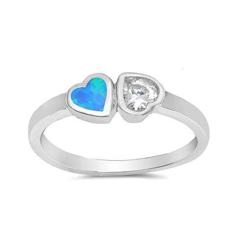 Two Heart Promise Ring 925 Sterling Silver Round CZ Choose Color - Blue Apple Jewelry