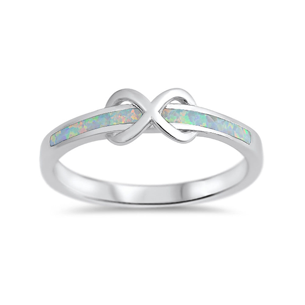 New Design Infinity Knot Ring Lab Created Opal 925 Sterling Silver Choose Color - Blue Apple Jewelry