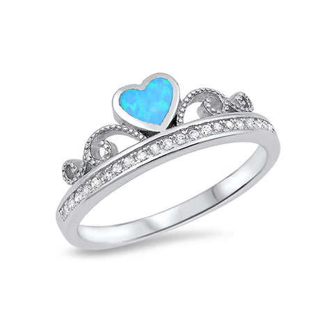 Half Eternity Heart Crown Ring 925 Sterling Silver Round CZ Choose Color - Blue Apple Jewelry