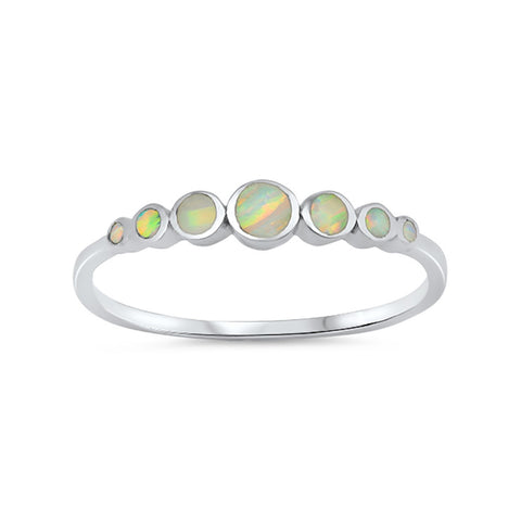 4mm Half Eternity Band Ring Round Lab Created Opal 925 Sterling Silver Choose Color - Blue Apple Jewelry