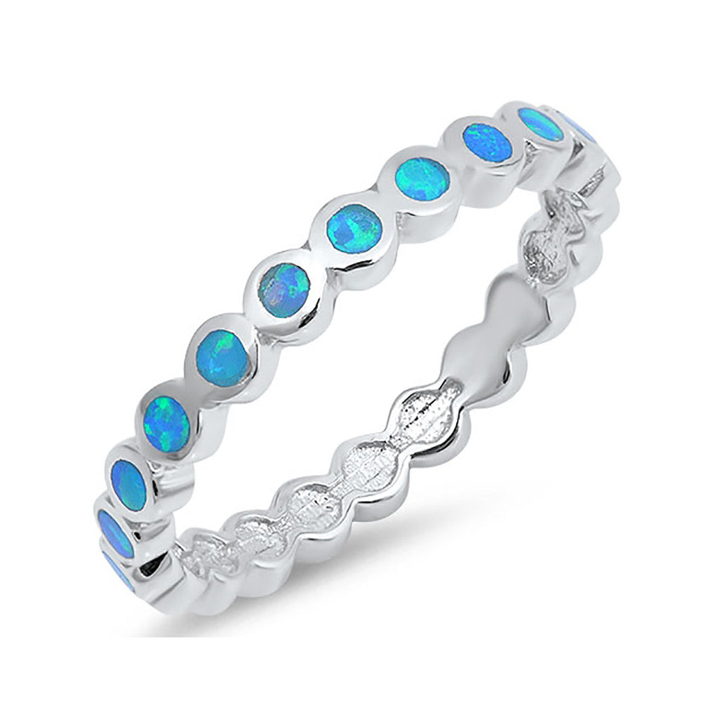 2mm Full Eternity Band Ring Lab Created Opal 925 Sterling Silver Choose Color - Blue Apple Jewelry