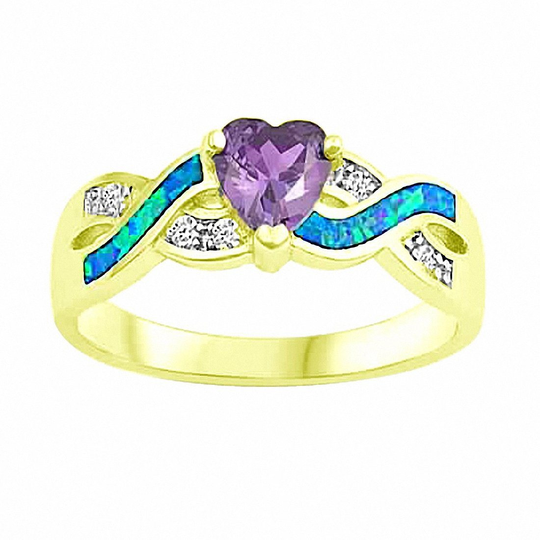 Heart Infinity Promise Ring Created Opal Simulated Amethyst 925 Sterling Silver Choose Color