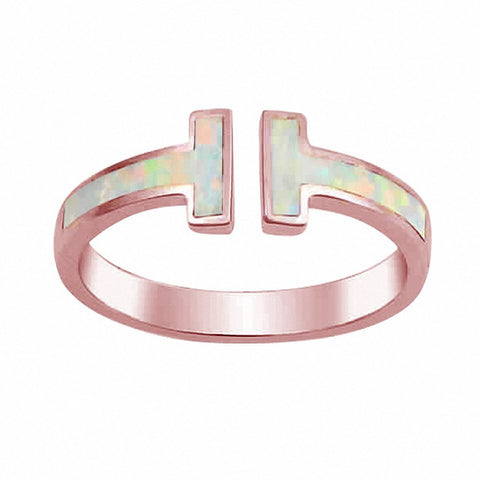 Fashion Bar Ring Created Opal 925 Sterling Silver Choose Color