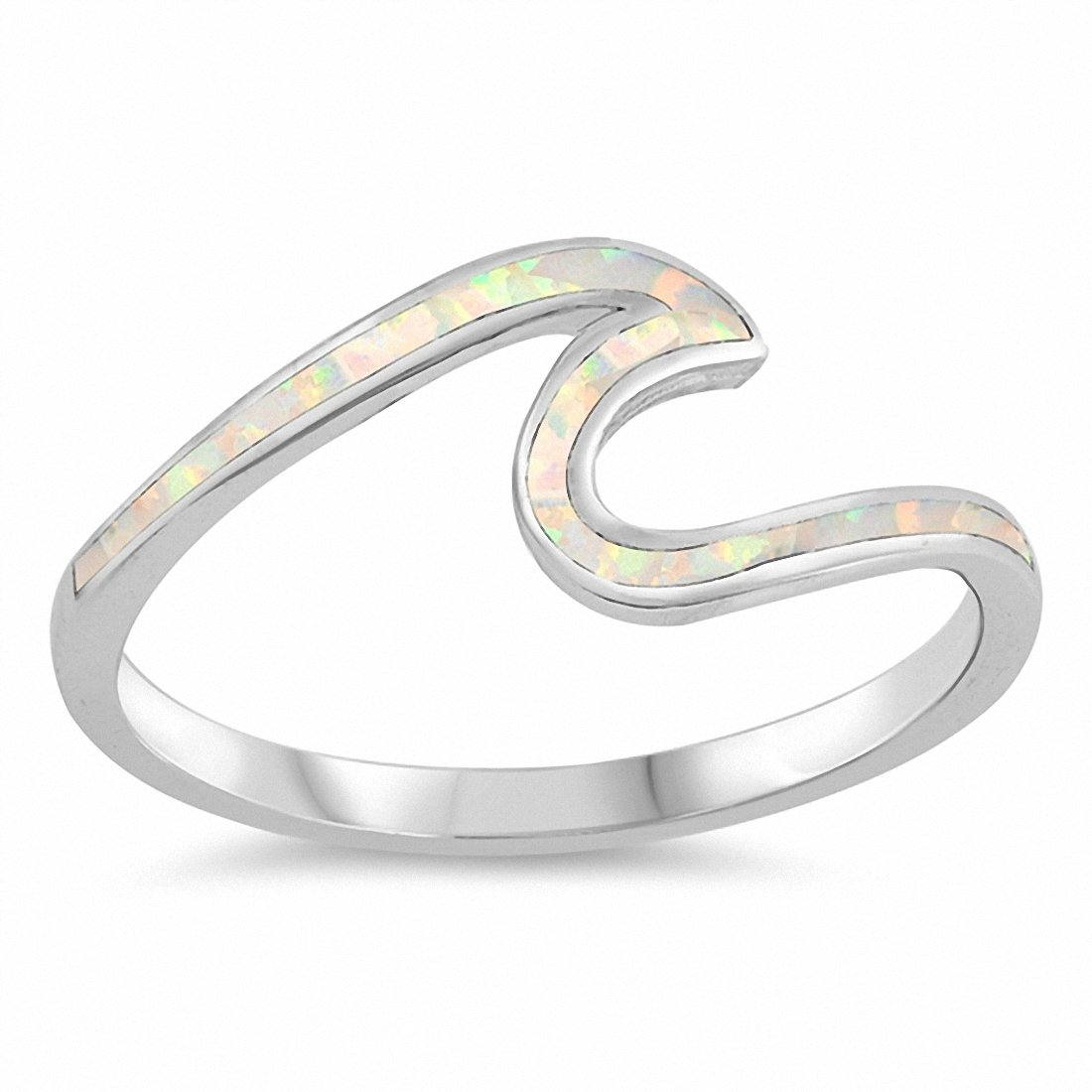 Wave Ring Created Opal 925 Sterling Silver Choose Color