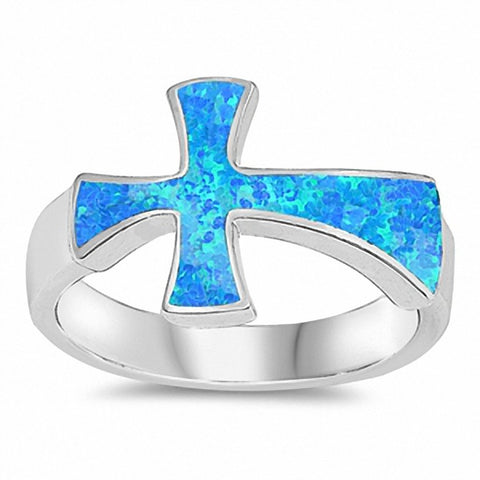Sideways Cross Ring Created White Opal 925 Sterling Silver Choose Color