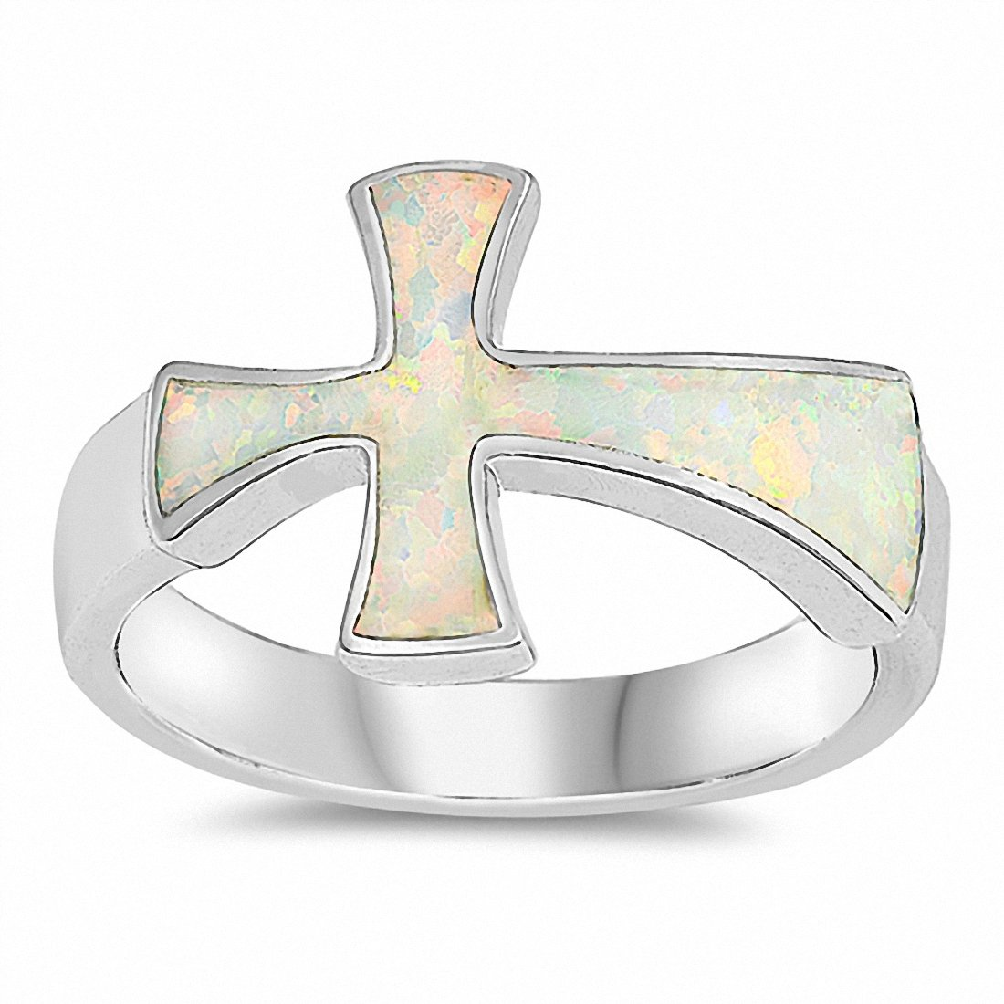 Sideways Cross Ring Created Opal 925 Sterling Silver Choose Color