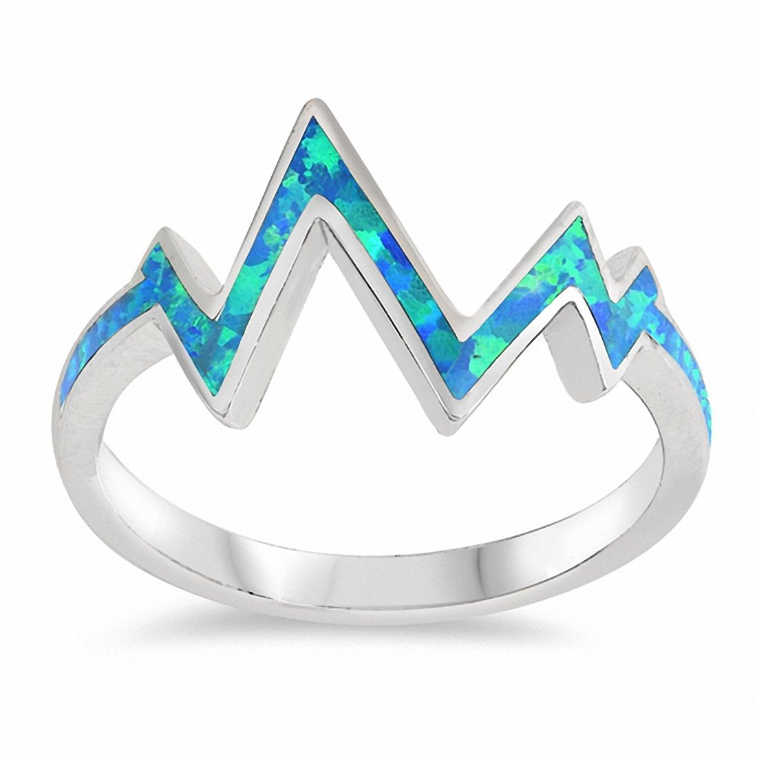 Zig Zag Band Ring Created Opal 925 Sterling Silver Choose Color