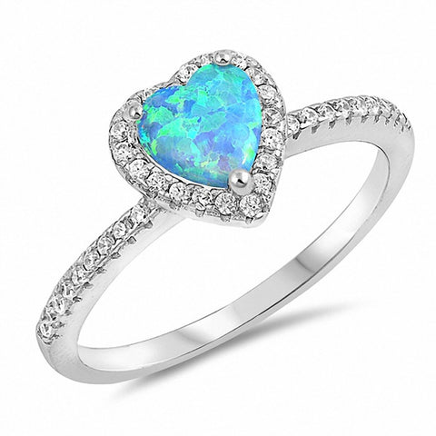 Halo Heart Ring Round Cubic Zirconia Created Opal 925 Sterling Silver Choose Color
