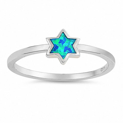 Star Ring Created Opal 925 Sterling Silver Choose Color