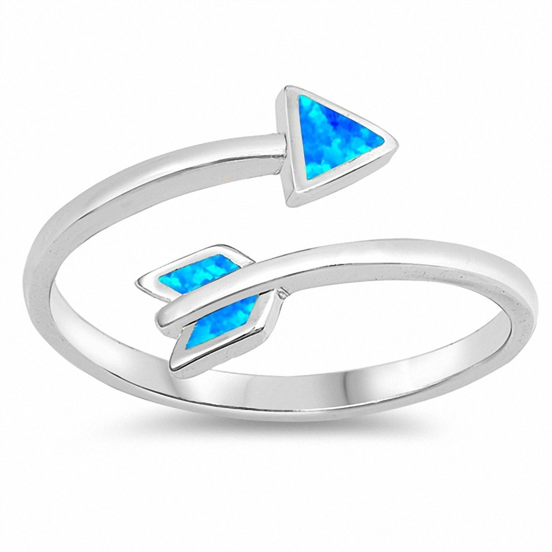 Arrow Ring Created Opal 925 Sterling Silver Choose Color