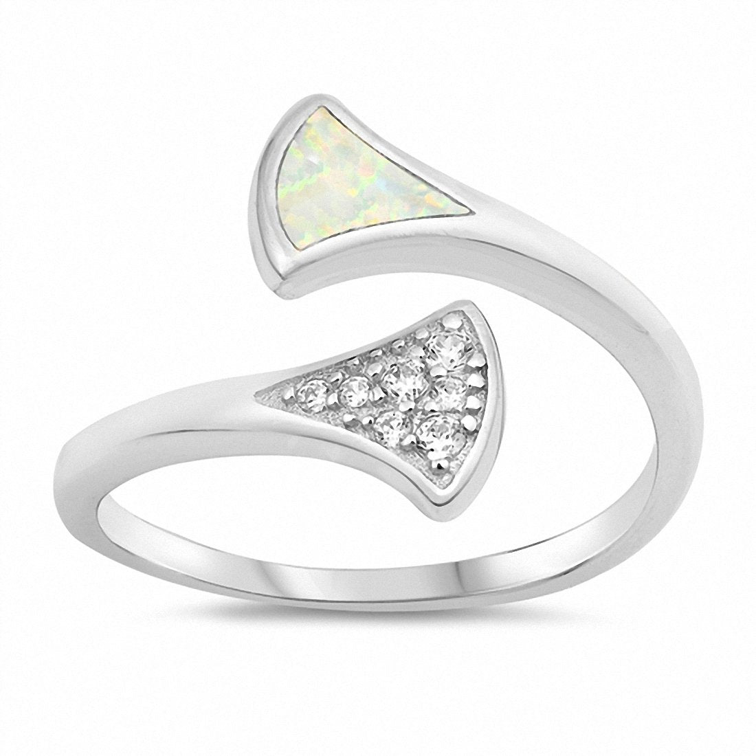 Fashion Bypass Wrap Design Ring Created Opal 925 Sterling Silver Choose Color