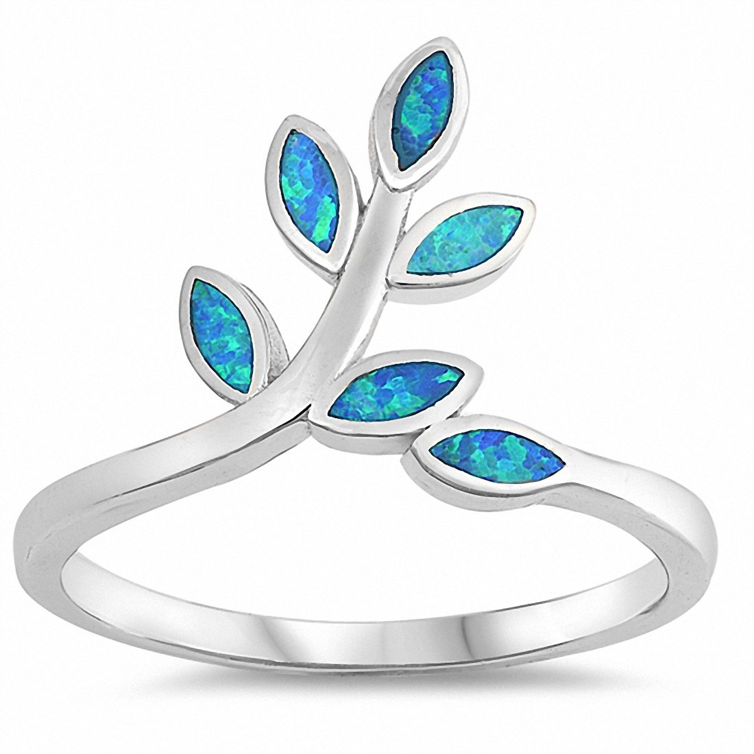 Leaf Leaves Ring Created Blue Opal 925 Sterling Silver Choose Color