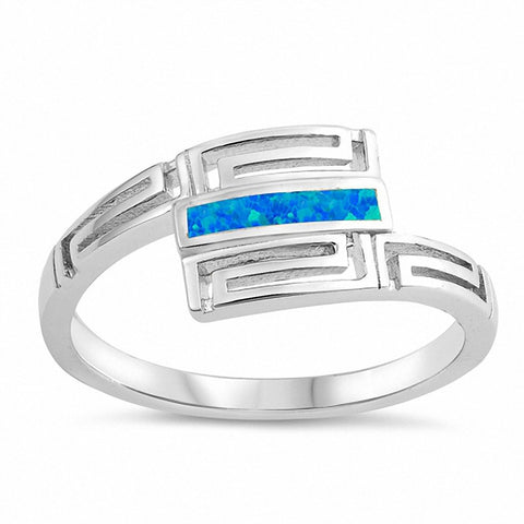 Bypass Wrap Design Ring Created Opal Greek key 925 Sterling Silver Choose Color