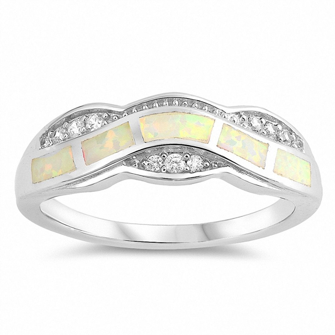 Fashion Ring Created Opal Round Cubic Zirconia 925 Sterling Silver Choose Color