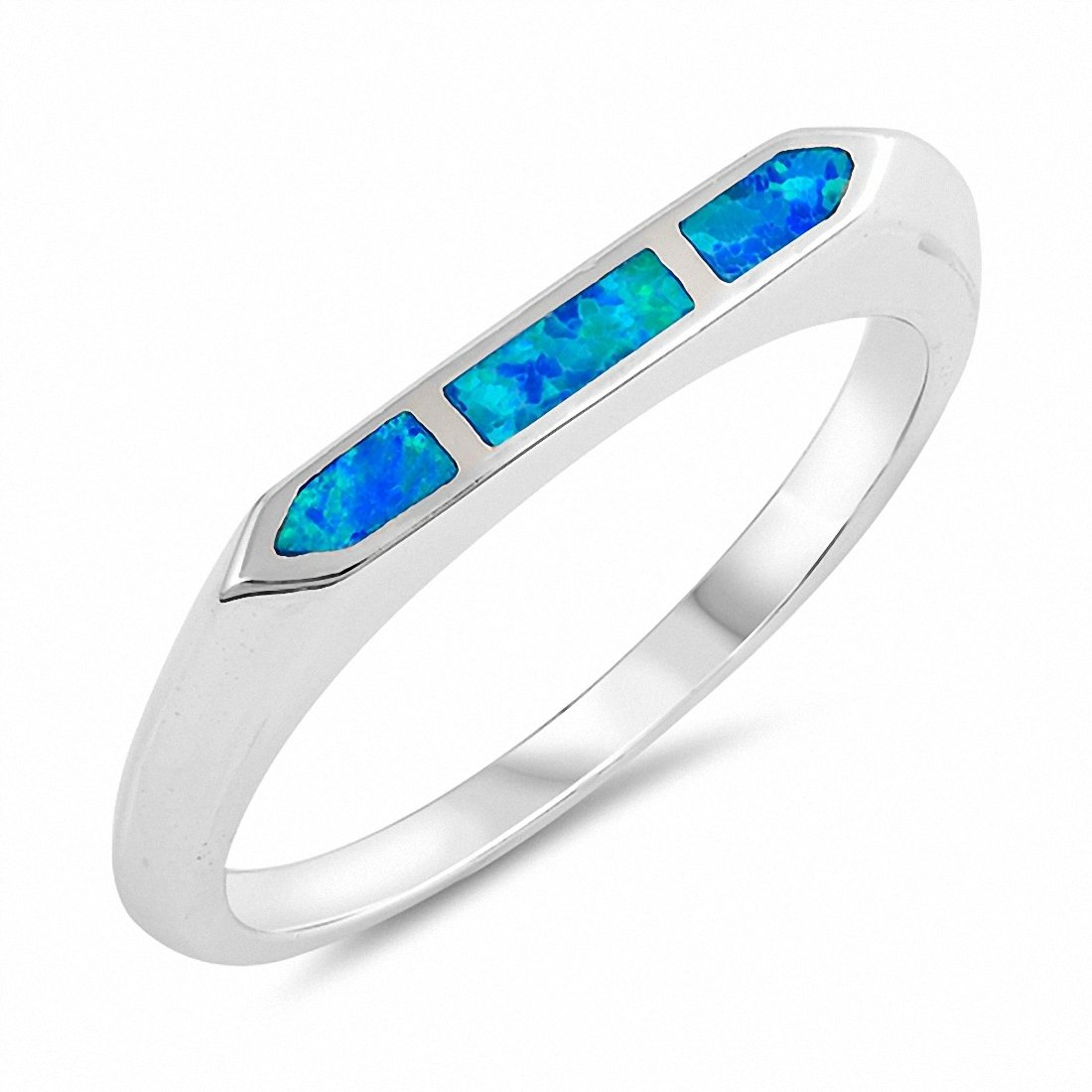 Created Opal Band 925 Sterling Silver Choose Color