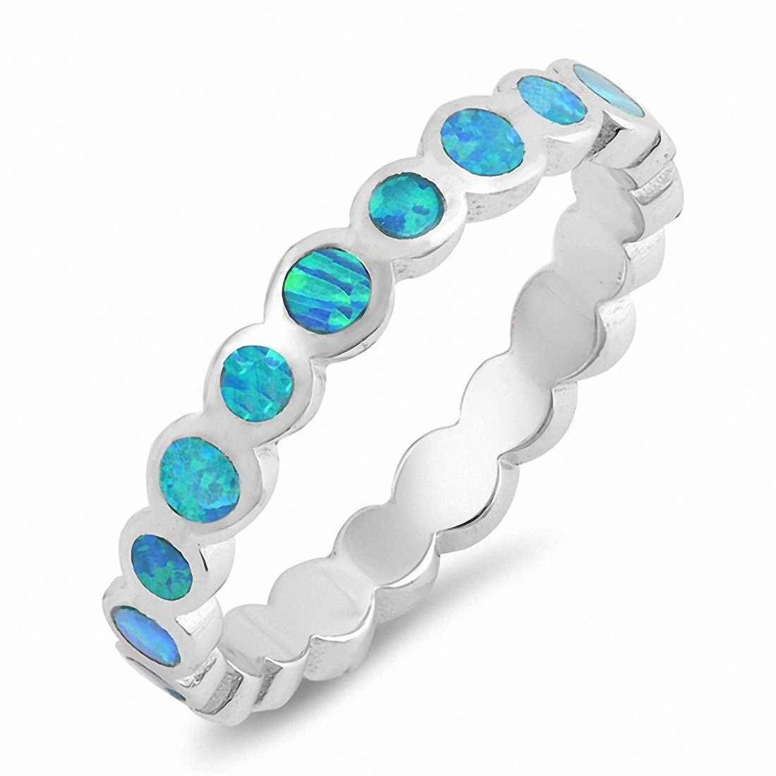 Bezel Created Opal Band 925 Sterling Silver Choose Color