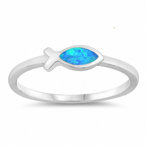 Religious Christian Fish Ring Created Opal 925 Sterling Silver Choose Color