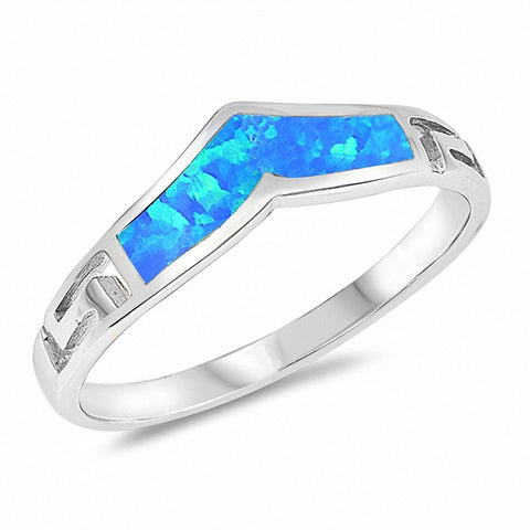 Chevron Midi V Ring Greek Key Band Created Opal 925 Sterling Silver Choose Color