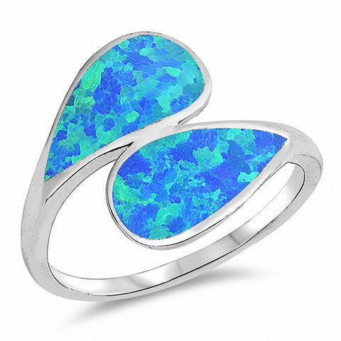 Bypass Wrap Style Ring Created Opal 925 Sterling Silver Choose Color