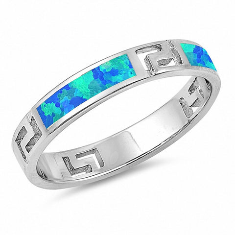4mm Greek Key Band Ring Created Opal 925 Sterling Silver Choose Color