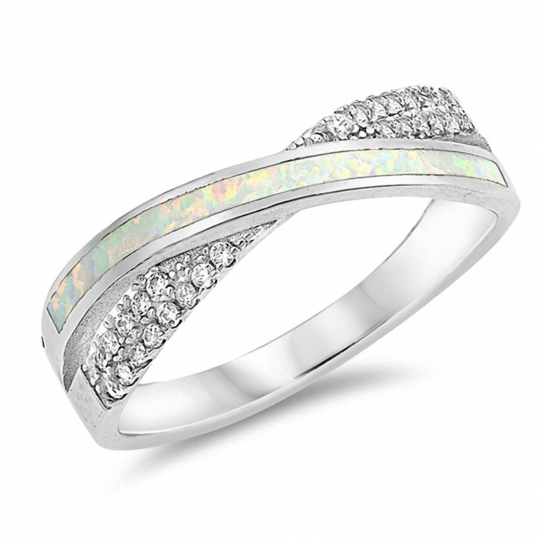 Crisscross Infinity Ring Created Opal Round Cubic Zirconia 925 Sterling Silver Choose Color