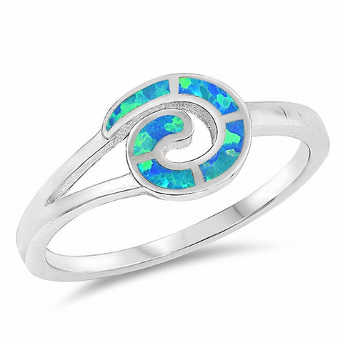 Fashion Swirl Spiral Style Ring Created Opal 925 Sterling Silver Choose Color