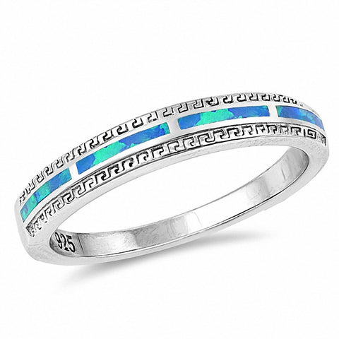 4mm Half Eternity Band Ring Created Opal Round Cubic Zirconia 925 Sterling Silver