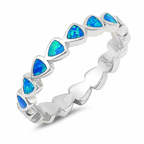 4mm Full Eternity Stackable Band Ring Heart Created Opal 925 Sterling Silver Choose Color
