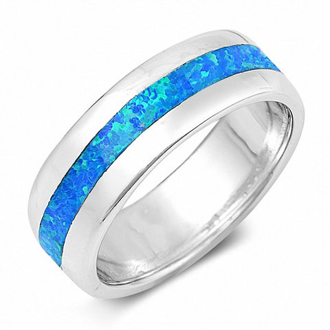 7mm Full Eternity Band Ring Created Opal 925 Sterling Silver Choose Color