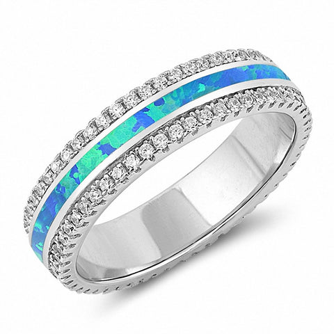 5mm Full Eternity Band Ring Created Opal Round Cubic Zirconia 925 Sterling Silver Choose Color