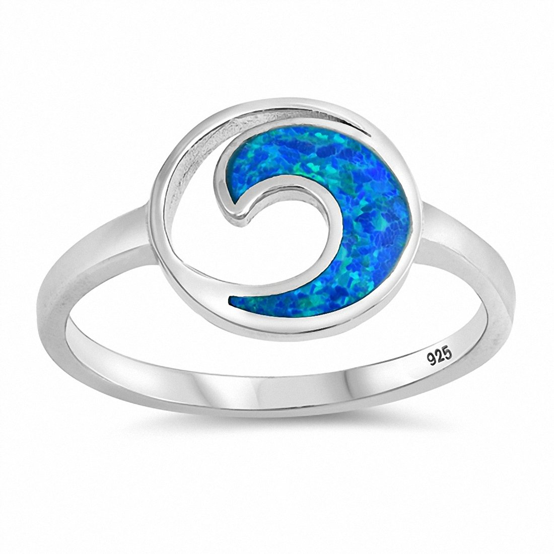 Fashion Wave Ring Lab Created Opal 925 Sterling Silver Choose Color