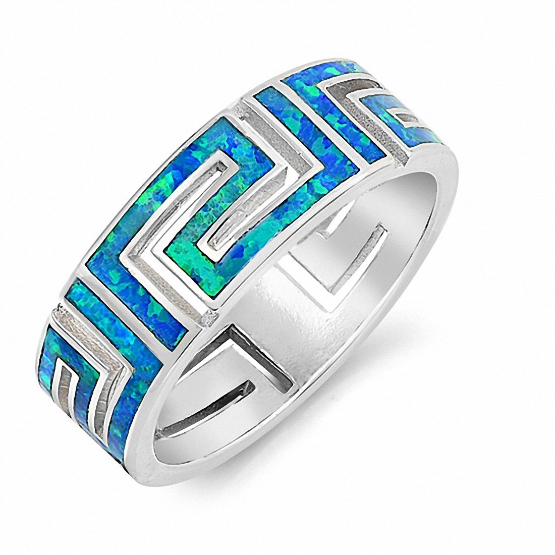 7mm Greek Key Band Ring 925 Sterling Silver Created Opal Choose Color