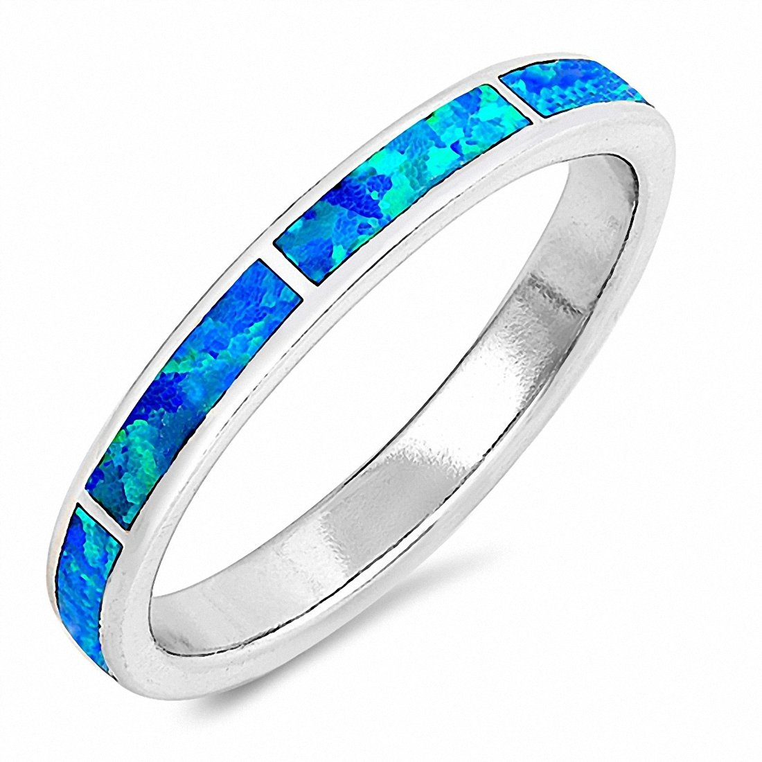 Silver Band Ring Created Opal 925 Sterling Silver Choose Color (3mm)