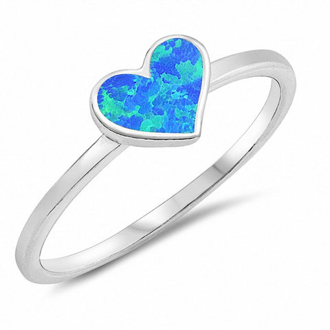 Solitaire Heart Ring Created Opal 925 Sterling Silver Choose Color