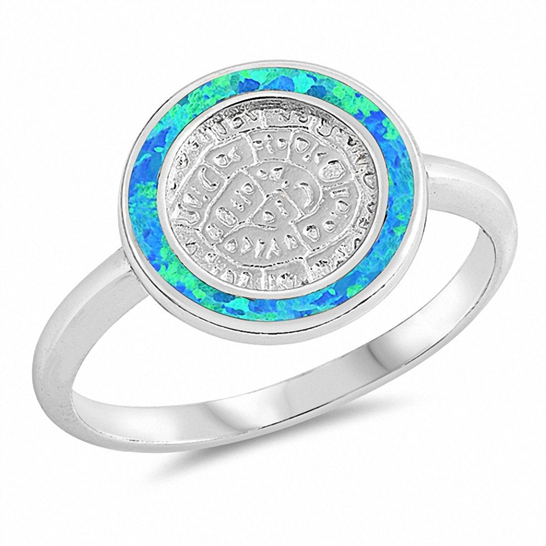 Ancient Writing Round Created Opal 925 Sterling Silver