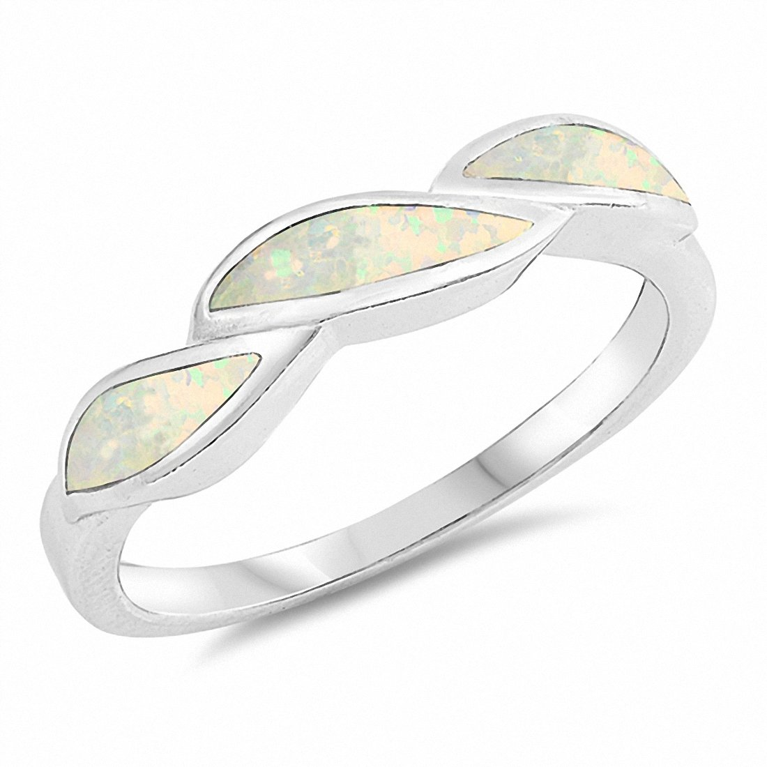 Fashion Band Created Opal 925 Sterling Silver Choose Color