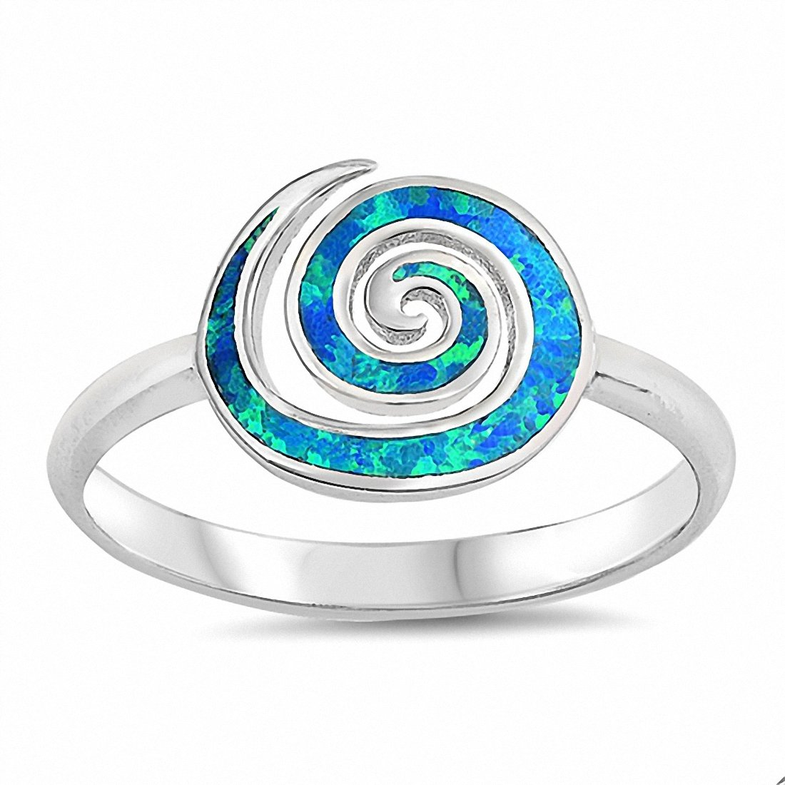 Swirl Spiral Ring Created Opal 925 Sterling Silver (10mm)