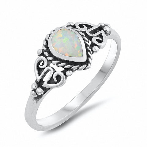 Filigree Design Teardrop Pear Created Blue Opal 925 Sterling Silver