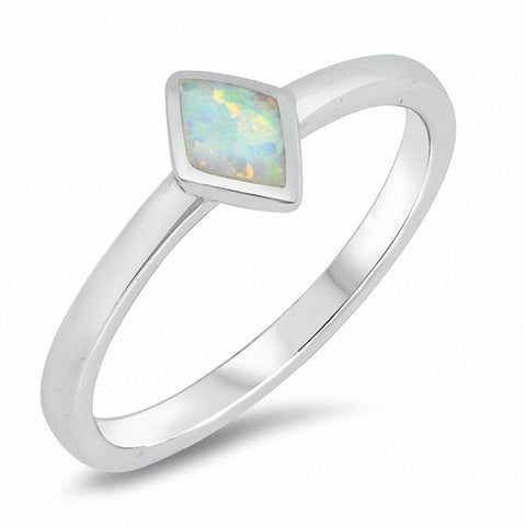 Solitaire Ring Marquise Created Opal Solid 925 Sterling Silver Choose Color